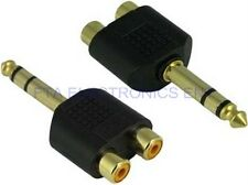 "1/4"" 6.35mm Audio Stereo Male Socket to 2 Dual RCA Female Adapter Connector Plug"
