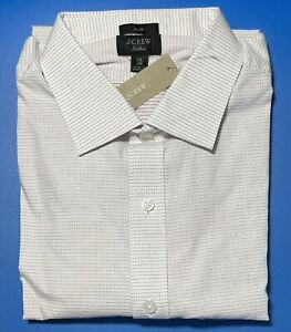 16 x 35 J CREW Destination Ludlow Slim Fit Dress Shirt Mahogany Micro Dot K3114
