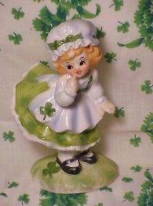 LEFTON Ceramic ST.PATRICK'S DAY IRISH LASS FIGURINE - FOIL JAPAN LABEL + HANKY