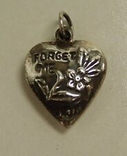 VINTAGE STERLING SILVER PUFFY HEART CHARM - Repousse, flower, Forget Me Not.