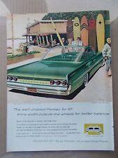 1961 PONTIAC BONNEVILLE SPORTS COUPE  1960 VINTAGE MAGAZINE AD  INV#192