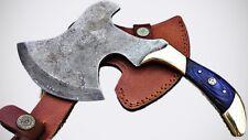 "Custom Handmade Damascus Blade 10"" AXE "" Blue Rose Wood Handle (A29B15)"