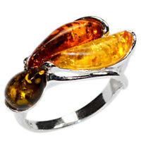 3.8g Authentic Baltic Amber 925 Sterling Silver Ring Jewelry N-A7428