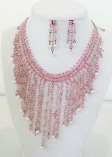 ICON  PINK CRYSTAL ACRYLIC BEAD CHEVRON HANDMADE NECKLACE EARRINGS JEWELRY SET