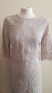 Goregous New Linea House of Fraser Grey Lace Pencil Dress UK12 £130