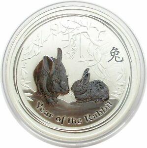 Australien 1 Dollar 2011 Lunar II Hase,Year of the Rabbit 1 oz Silbermünze