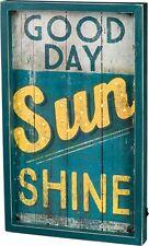 "Primitive by kathy LED Wood Box Light Up Sign ""GOOD DAY Sun SHINE"""