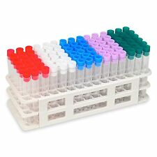 90 Tube - 13x100mm Clear Plastic Test Tube Set with Caps and Rack