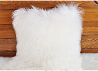 Real Mongolian Tibetan Lamb Fur Pillow Cushion Cover Pillowcase White Luxurious