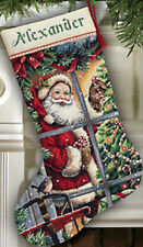 Counted Cross Stitch Kit CANDY CANE SANTA STOCKING Dimensions Gold Collection