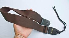 Guitar Strap For Acoustic Electric Bass & Mandolin Brown Nylon Leather Ends USA