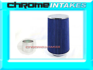 """BLUE UNIVERSAL 3.5"""" BIG 9"""" FLANGE DRY AIR FILTER FOR DODGE AIR INTAKE+PIPE"""