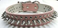 """Pink Genuine Leather 1 1/2"""" Wide Spiked Dog Collar 18-21"""" With Rivets USA Made"""