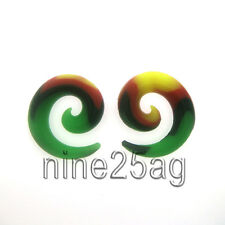 PAIR OF 00G (10MM) SOFT FLEXABLE SILICONE SPIRALS RASTA SWIRL PLUGS