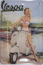 Vespa Bikinigirl Nostalgie Blechschild Gewölbt Neu  20x30cm S165