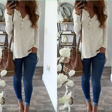 Womens Ladies Winter Autumn Basic White T-shirt Long Sleeve Buttons Blouse Tops