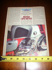 1959 1960 1961 1962 1963 1964 HONDA CB92 BENLY - ORIGINAL 1985 ARTICLE