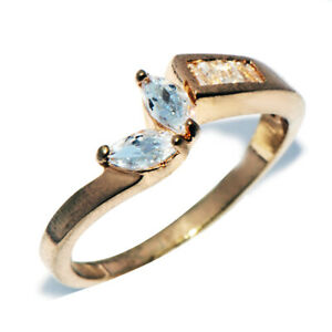 Lovely 9K Gold Filled Crystal CZ Stone Leave Ring for Womens Female Rings Size 5