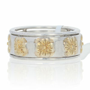 Sterling Silver Spinner Ring - 925 Gold Plated Flower Band Size 5 3/4