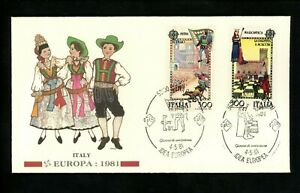 Postal History Italy FDC #1455-1456 Europa chess game horse race 1981