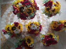 Wedding flowers bridal bouquet decorations sunflowers Cranberry red Bouquet lg