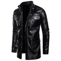 Men Long sleeve Stand collar Zipper Mid Length Outdoor Leather coat Jacket Punk