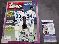 Ken Griffey Jr & SR Autographed Signed Seattle Mariners Topps Magazine JSA COA
