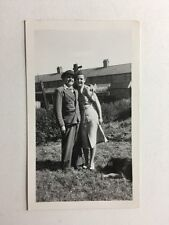 Vintage Real Photograph - #T - Man And Young Woman In Garden With Wolf The Dog