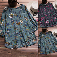 Womens Loose Short Sleeve Vintage Floral Print T Shirt Casual Blouse Plus Size