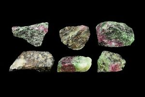 """Ruby Zoisite Crystals 1"""" 6 Pieces Heart Chakra Healing Rough Natural Gemstone"""