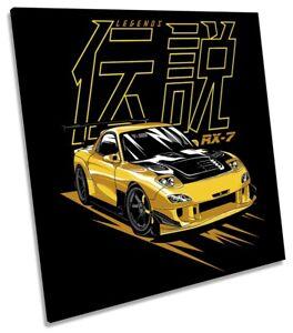 RE-Amemiya RX7 Car Picture CANVAS WALL ART Square Print Black