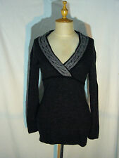 MEXX Sexy Low Cleavage Black Gray Knit Sweater Womens Size Large