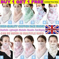 LADIES FACE MASK SHIELD FLORAL WASHABLE SCARF CHIFFON BANDANA NECK GAITER PINK