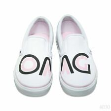 NWT! VANS Classic Slip On Shoes SAYINGS WHITE OMG Men's Size 9 Classic Sneakers