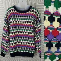 Vintage 90s Sweater Mens Size Medium Coogi Style 3D Cosby Geometric cotton