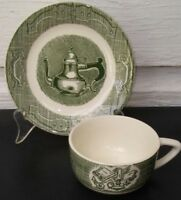 OLD CURIOSITY SHOP Royal China USA Cup Saucer Set(s) Currier & Ives 1950's Green
