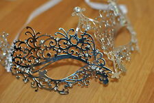 Delicate Venetian Silver  Metal Mask Filigree Masquerade  Diamante Ball. Prom