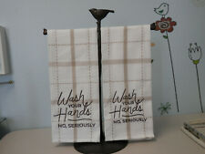 Embroidered Hand Towels SET OF TWO  Wash Your Hands