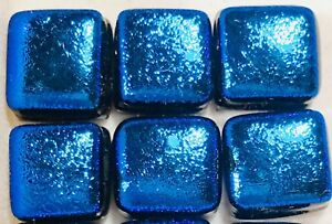 Lot of 6 BLUE Square GLITTER Fused Glass DICHROIC Cabochons NO HOLES Beads