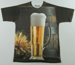 Get A Life Tall Glass of BEER Mugs Of Beer Draft Beer All Over T Shirt Size L
