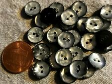 "24 Small Silver Gray Pearlized Black Plastic Sew-through Buttons 3/8"" 10mm 4824"
