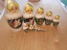 Vintage  Wooden Russian Nesting Doll 12 Pieces Matryoshka/Babushka  Signed