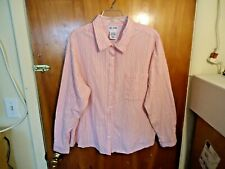 Womens Blair Size 2 XLPT Pink & White Striped Button Down Long Sleeve Shirt