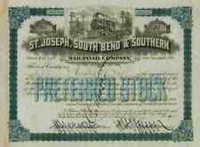 St. Joseph South Bend & Southern Railroad 1905 Indiana Michigan 11 Shares TOP