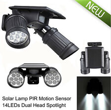 14 LED Solar Two Head Motion Sensor Garden Security Spot Light Lamp Waterproof