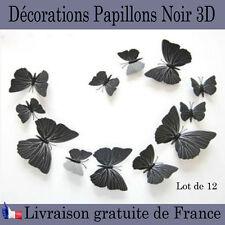 Décorations papillons 3D noir chambres accessoire mur aimanté stickers collant