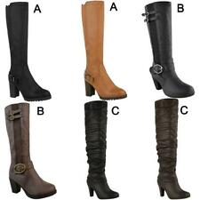 Womens Ladies Knee Calf High Boots Block Heels Stretchy Thigh Shoes Grip Size
