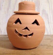"Vintage Hewell's Pottery Terracotta Jack O Lantern Pumpkin Halloween 9 1/2"""
