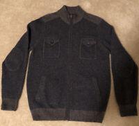 Pronto Uomo Men's Large 100% Wool Cardigan Zip Nordic Jacket Sweater Blue