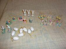 Vtg Easter Tree Ornaments Wood Resin Rabbits Chicks Robin Eggs Birds Nest Train